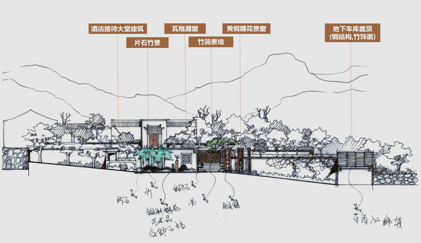 采用古典园林建筑的空间布局形式,设计